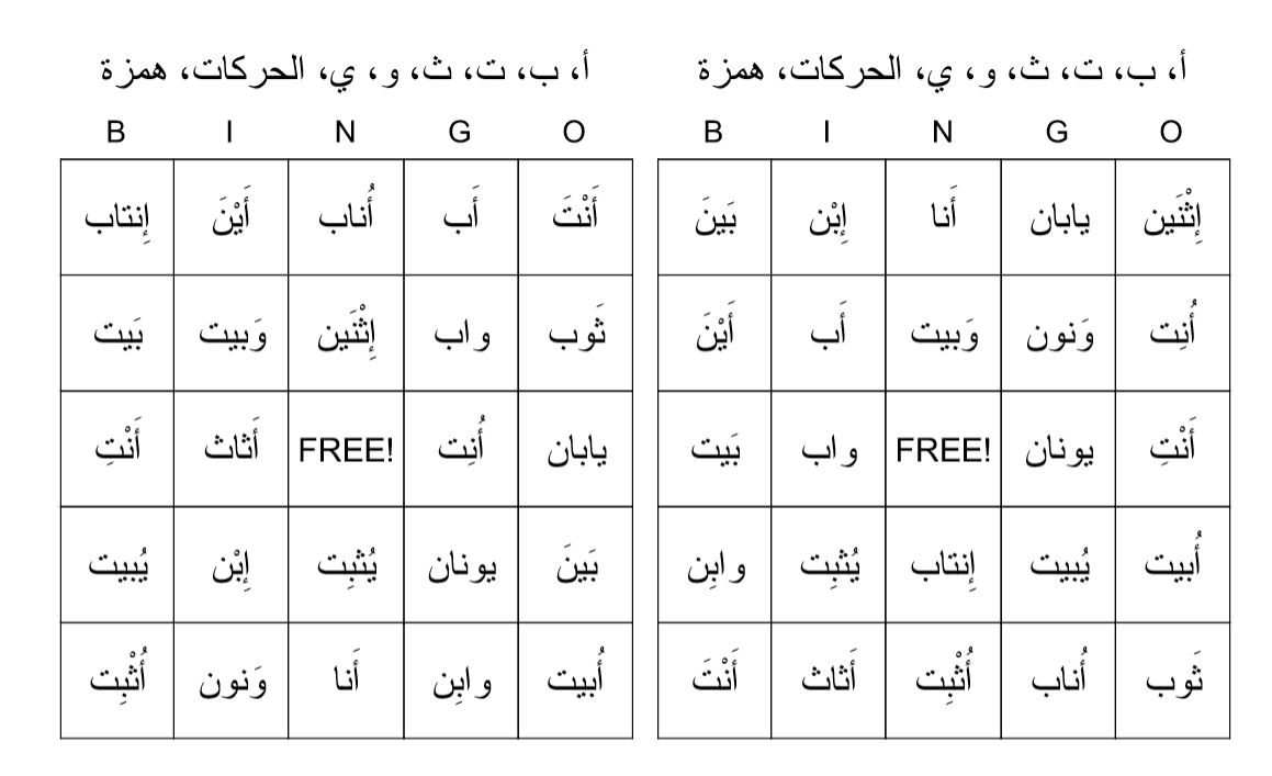 Bingo Game to Practice أ ب ت ث ن and Short Vowels