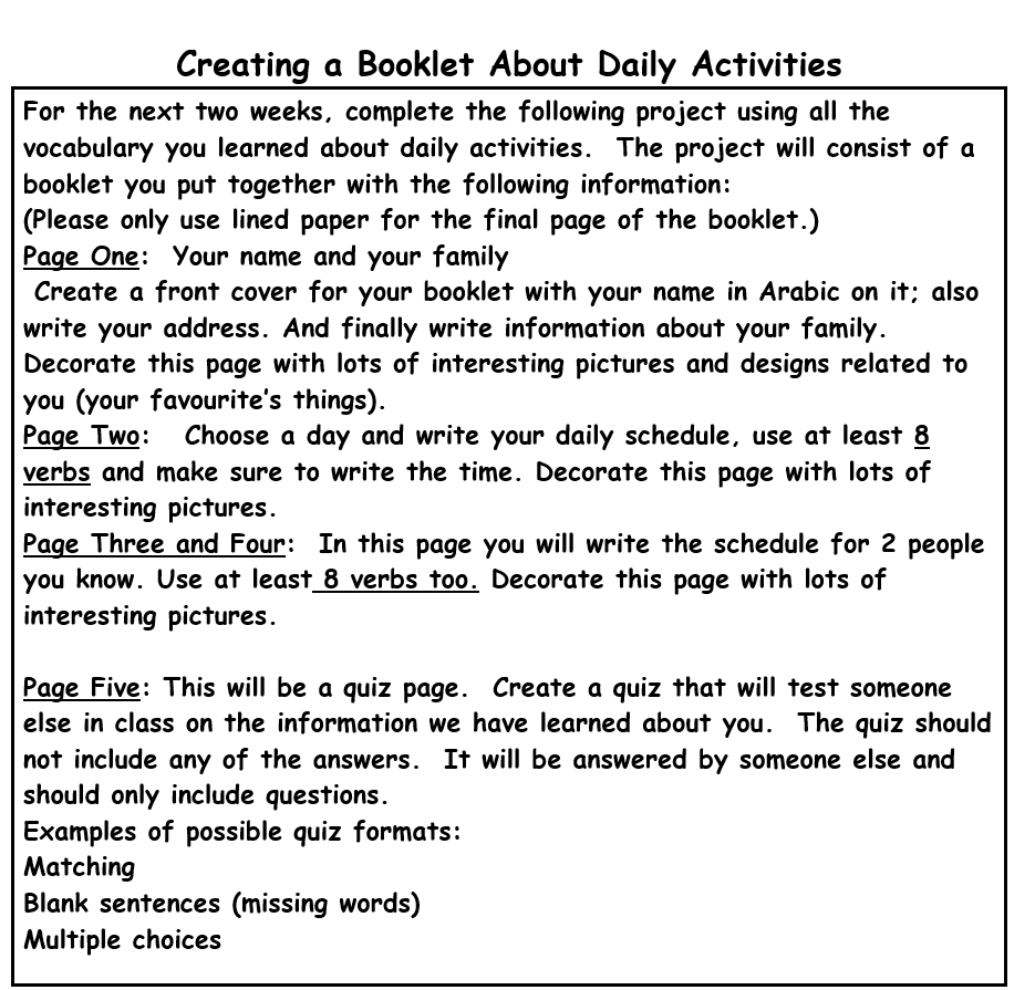 Creating a Booklet About Daily Activities