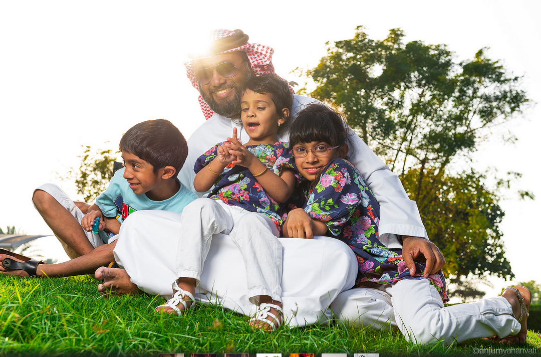 Arab Family Relaxes in a Park