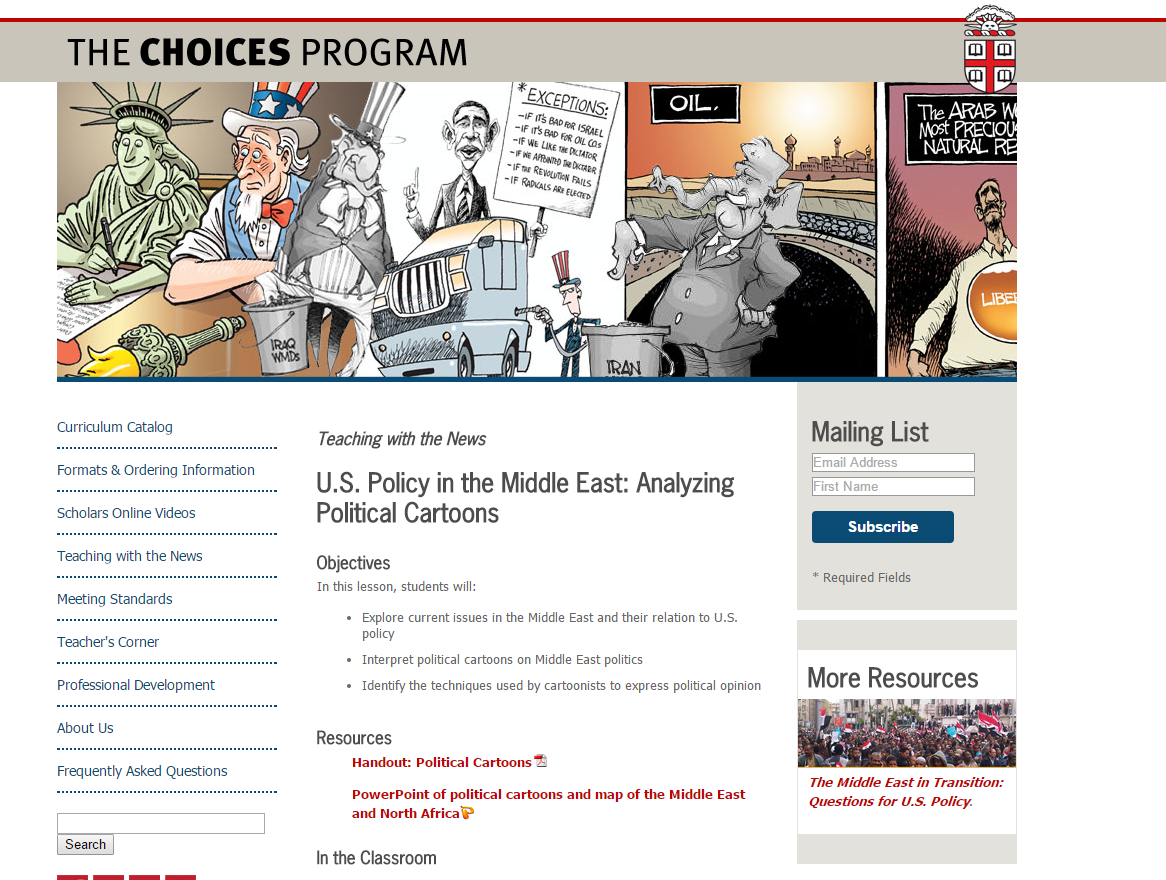 U.S. Policy in the Middle East: Analyzing Political Cartoons