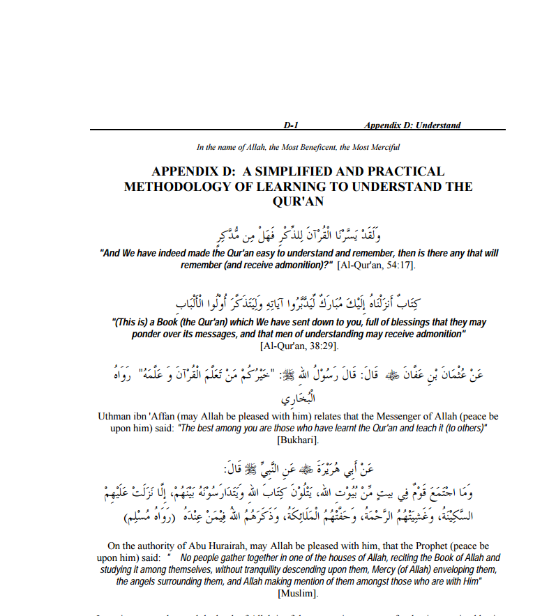 A Simplified and Practical Methodology of Learning to Understand the Qur'an