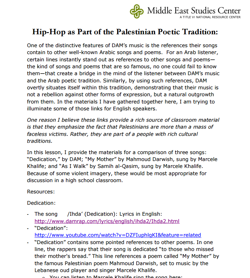 Hip Hop as Part of the Palestinian Poetic Tradition