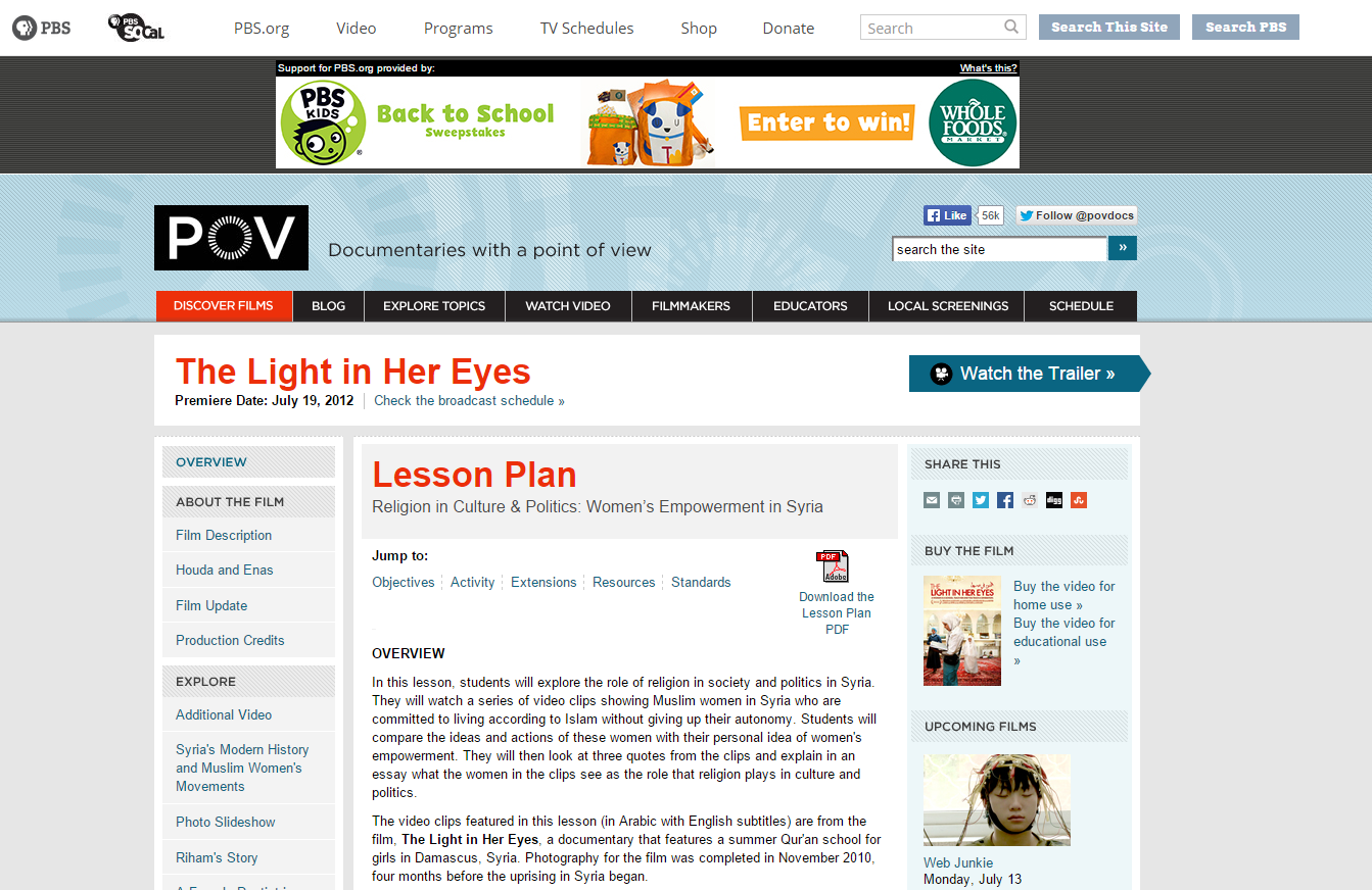 Religion in Culture & Politics: Women's Empowerment in Syria: Lesson Plan for the Light in Her Eyes
