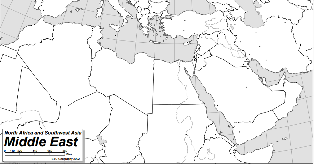 Blank Map of the Middle East and North Africa | Aldaad Arabic