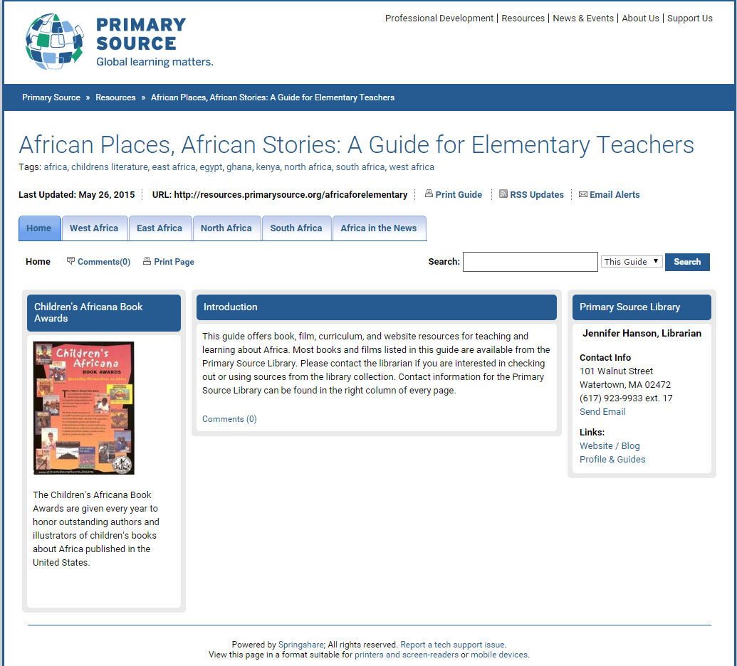 African Places, African Stories: A Guide for Elementary Teachers