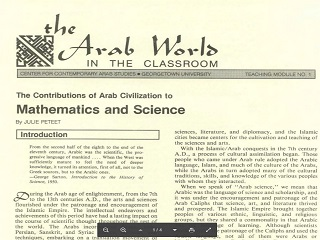 The Contributions of Arab Civilization to Mathematics and Science