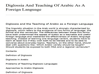 Diglossia And Teaching Of Arabic As A Foreign Language