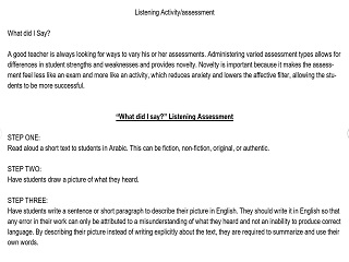 """What did I say?"" Listening Assessment"