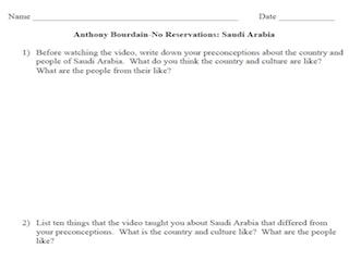 Anthony Bourdain: No Reservations- Saudi Arabia (Worksheet)