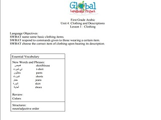 Level 1 Elementary Full Unit: Clothing and Descriptions (10 Lesson Plans)