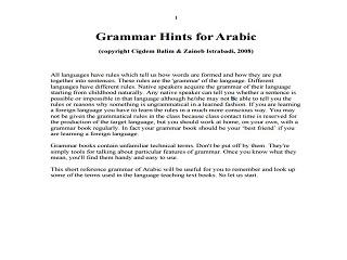 Arabic Grammar Hints