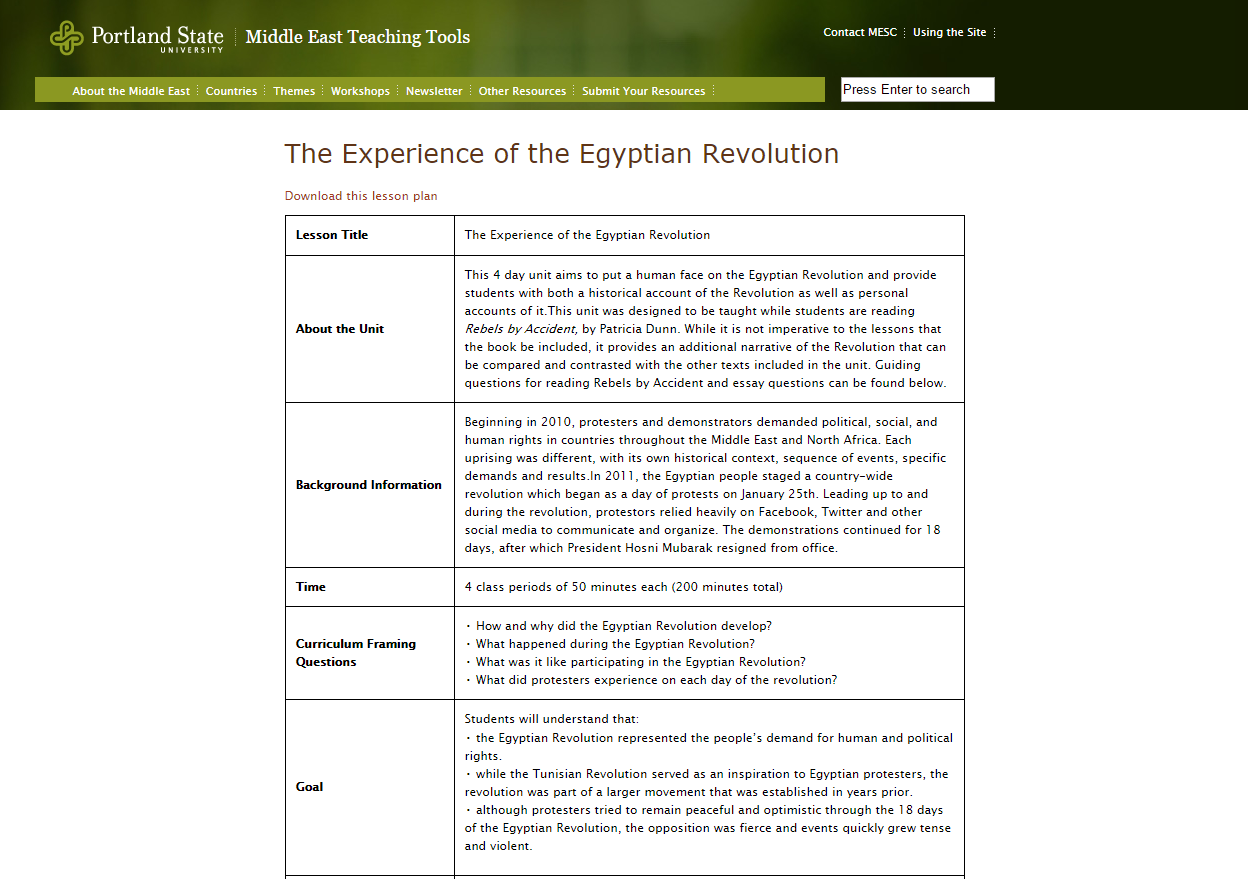 The Experience of the Egyptian Revolution