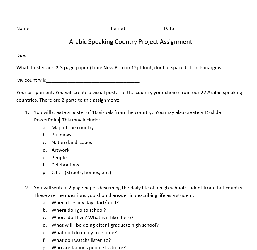 Arabic Speaking Country Project