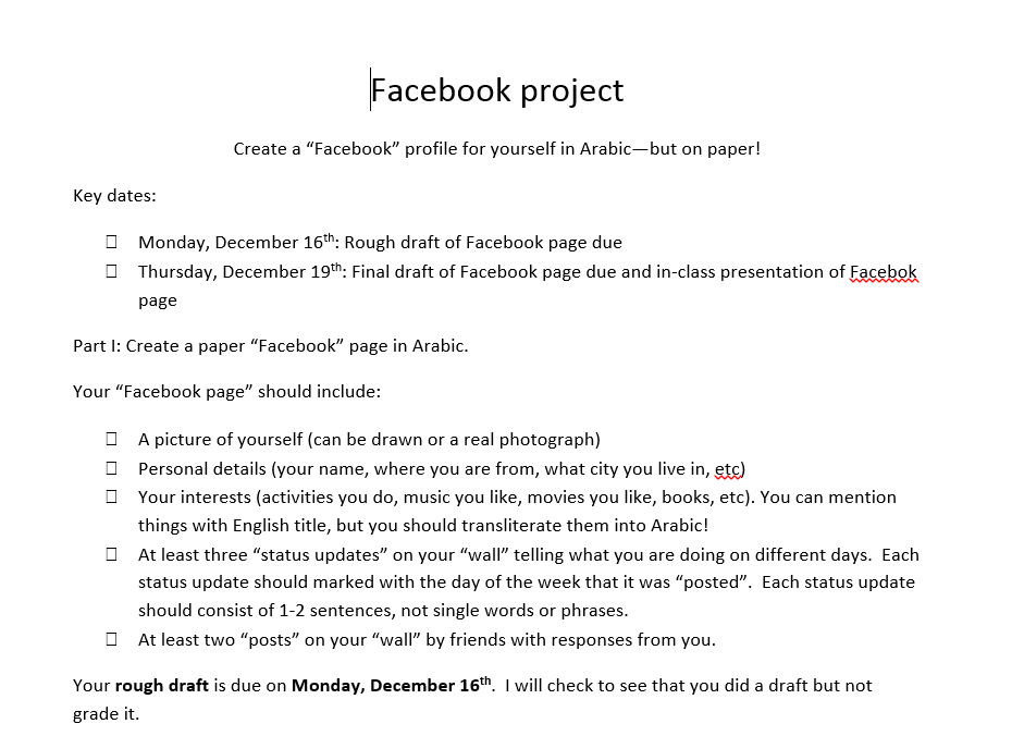Assessment – Create a Facebook Page for Yourself