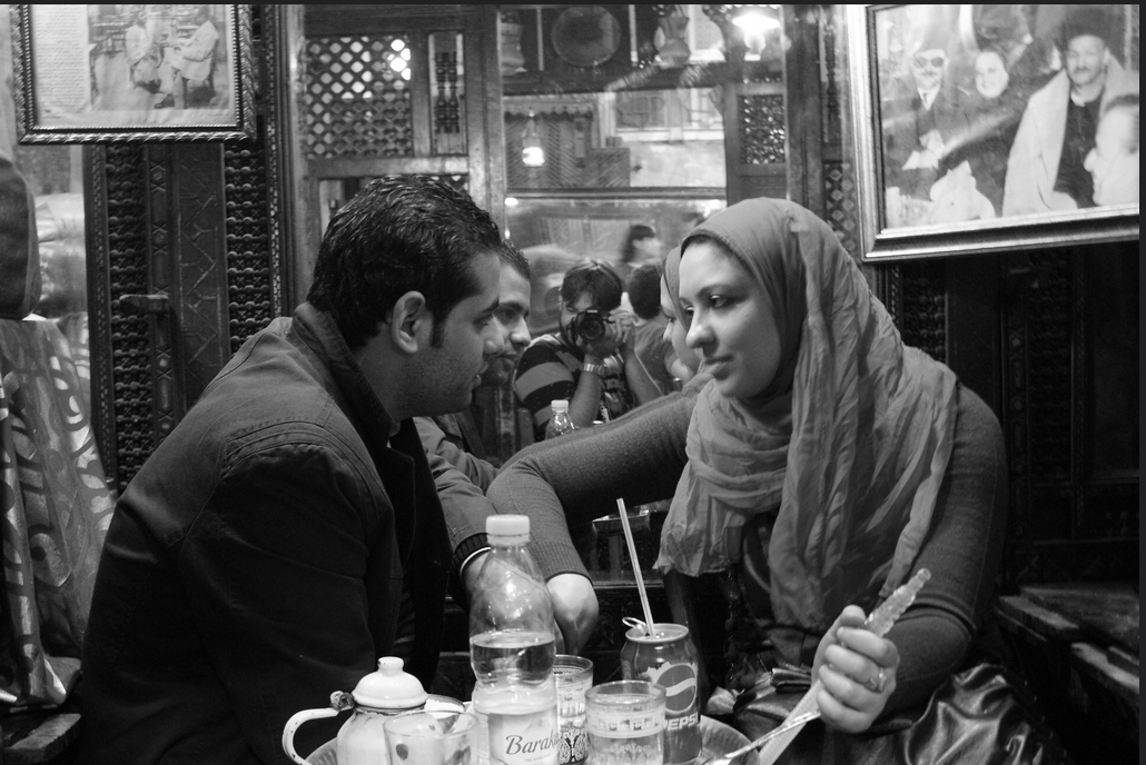 A Couple in Love in a Cairo Cafe