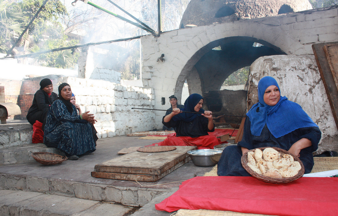 Women Making Bread in Egypt