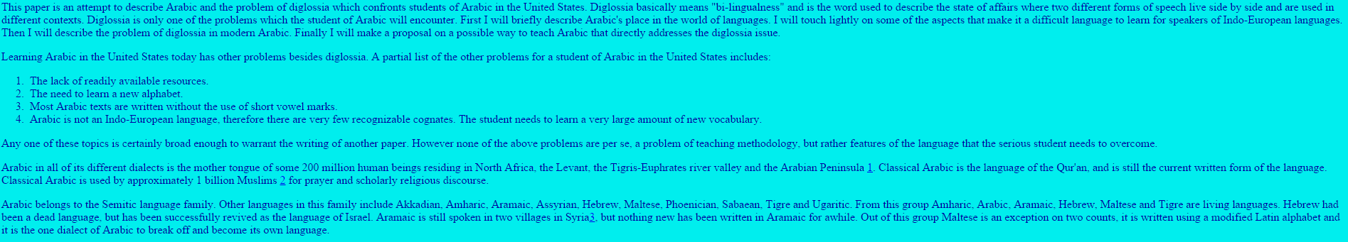 Arabic and the Problem of Diglossia