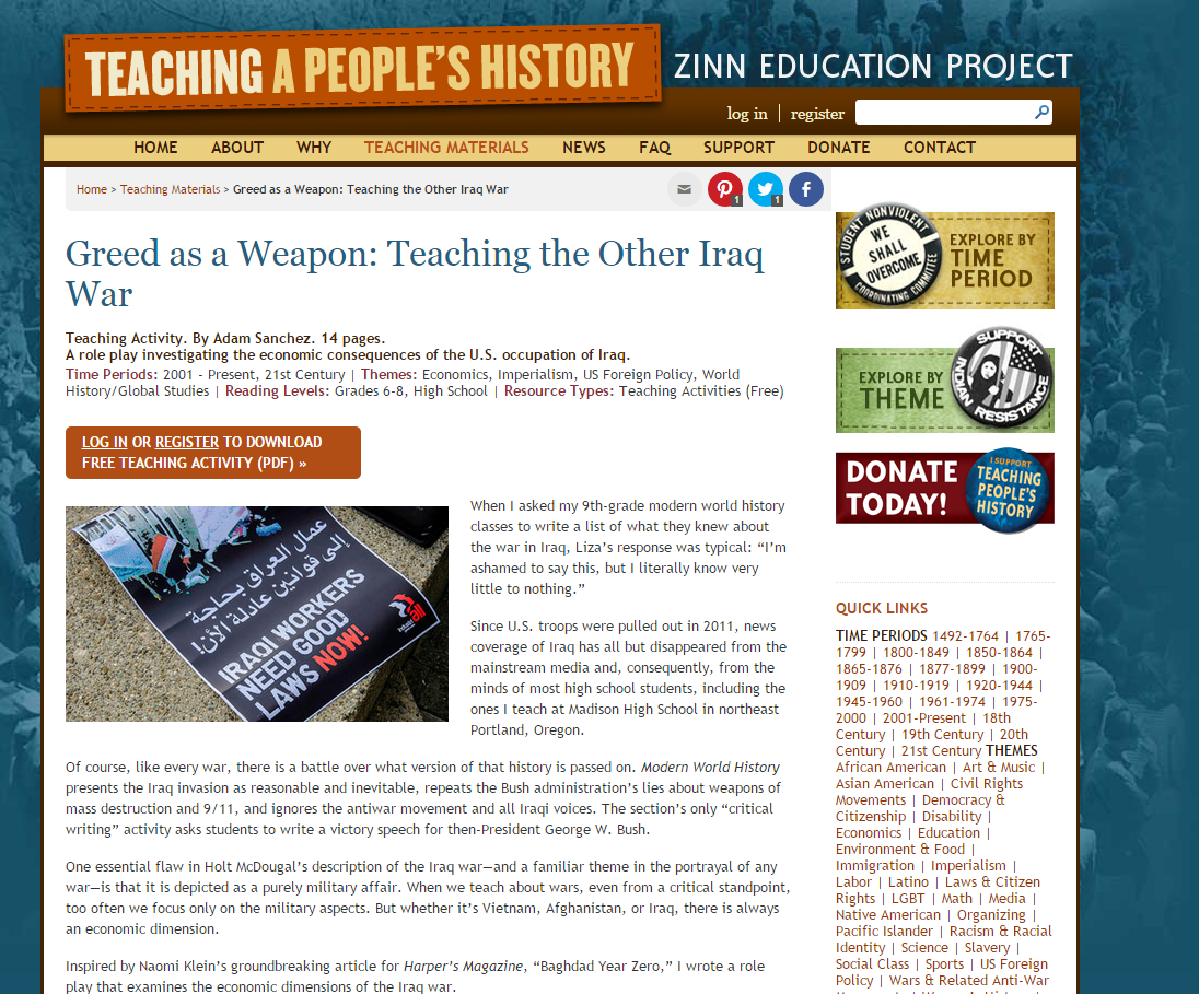 Greed as a Weapon: Teaching the Other Iraq War