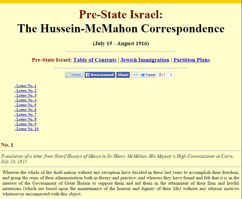 The Hussein-McMahon Correspondence