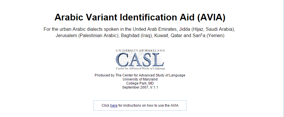 Arabic Variant Identification Aid (AVIA)