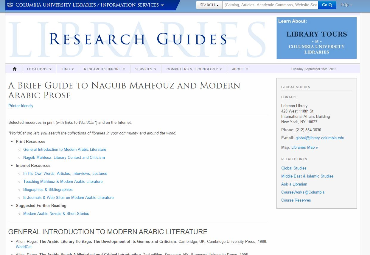 A Brief Guide to Naguib Mahfouz and Modern Arabic Prose