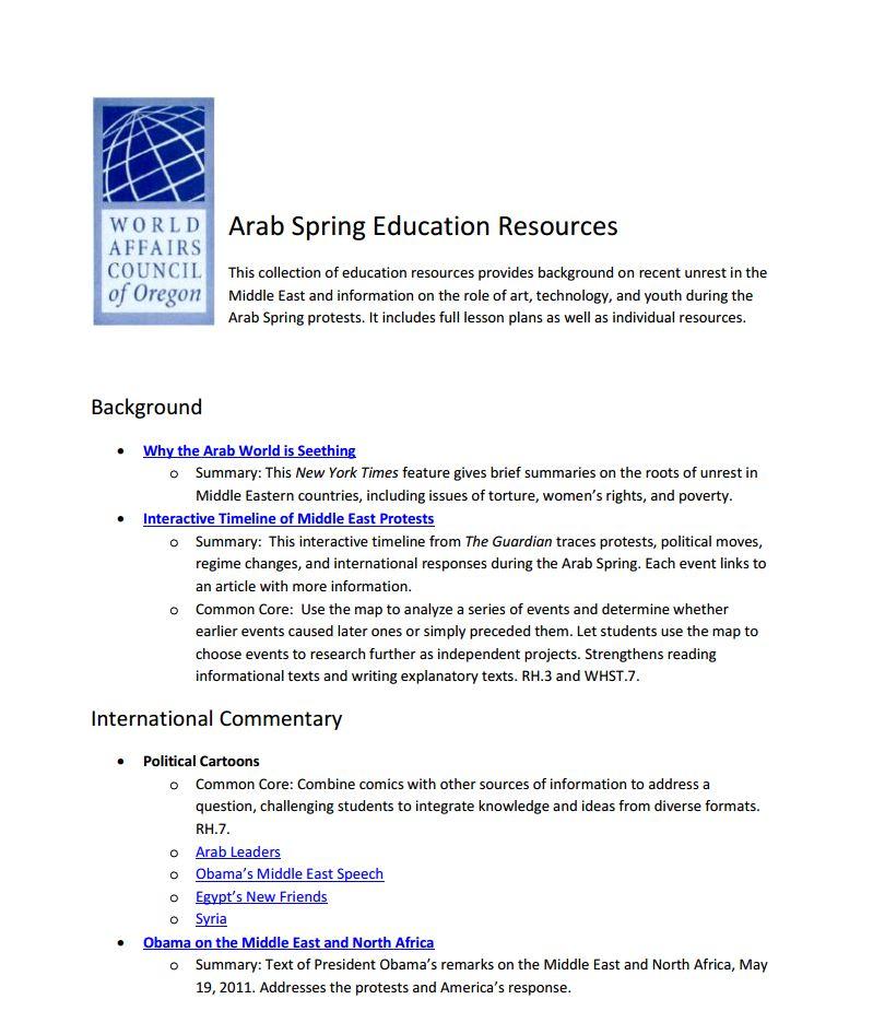 Arab Spring Education Resources