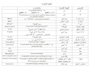 Qatari Dialect Cheat Sheet