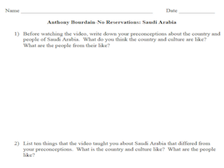 Anthony Bourdain: No Reservations- Saudi Arabia (Worksheet)