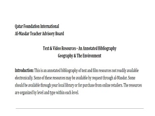 Annotated Bibliography: Geography & the Environment