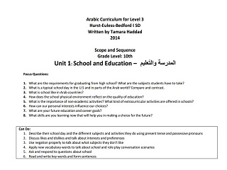 "Scope and Sequence for ""School and Education"" Intermediate Unit"