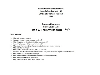 """Scope and Sequence for """"The Environment"""" Intermediate Unit"""
