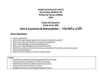 "Scope and Sequence for ""Countries and Nationalities"" Intermediate Unit"