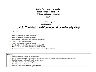"Scope and Sequence for ""Media and Communication"" Intermediate Unit"