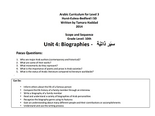 "Scope and Sequence for ""Biographies"" Intermediate Unit"