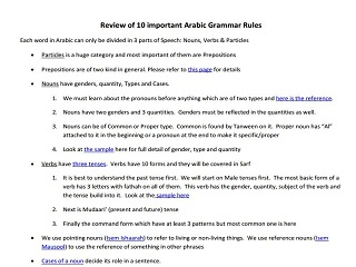 Review of 10 Important Arabic Grammar Rules
